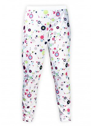Hot Chillys Youth Pepper Skins Print Bottom (Dots & Hearts-White)