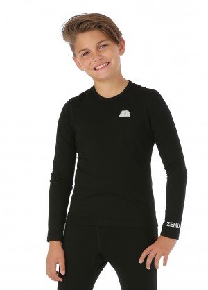 Zemu Girls Solid First Layer Long Sleeve Crewneck - WinterKids.com