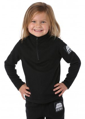 Little Girls 1/4 Zip Black Fleece Top